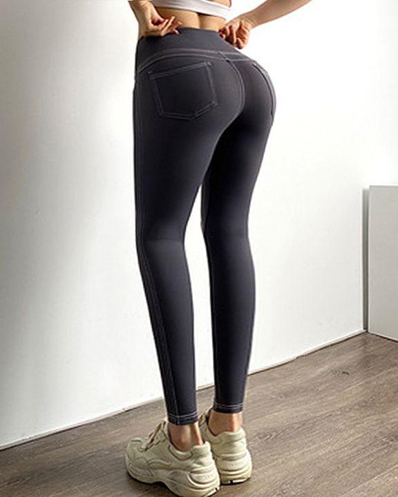 Topstitching Pocket Design High Waist Sports Leggings gallery 10