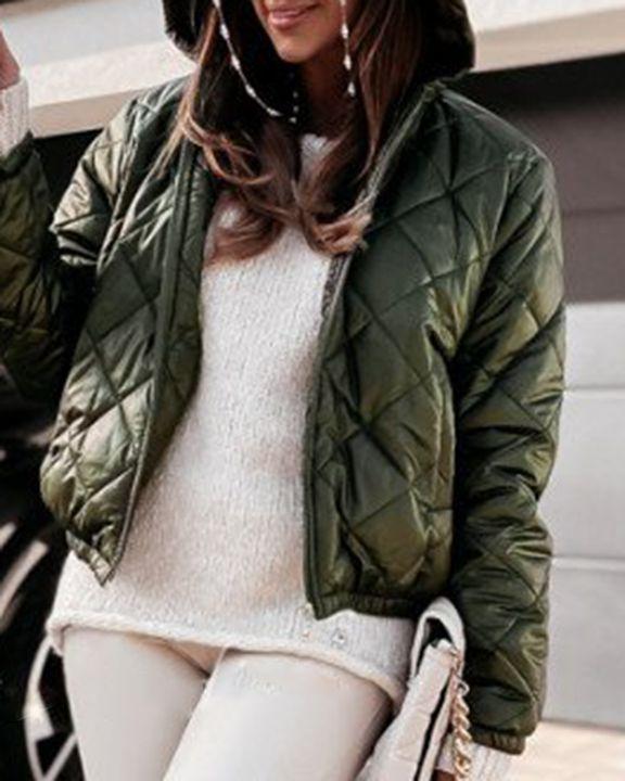 Argyle Quilted Zip Up Elastic Hem Hooded Jacket gallery 2