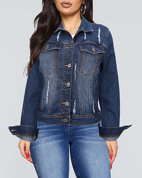 Ripped Button Up Flap Pocket Denim Jacket gallery 1