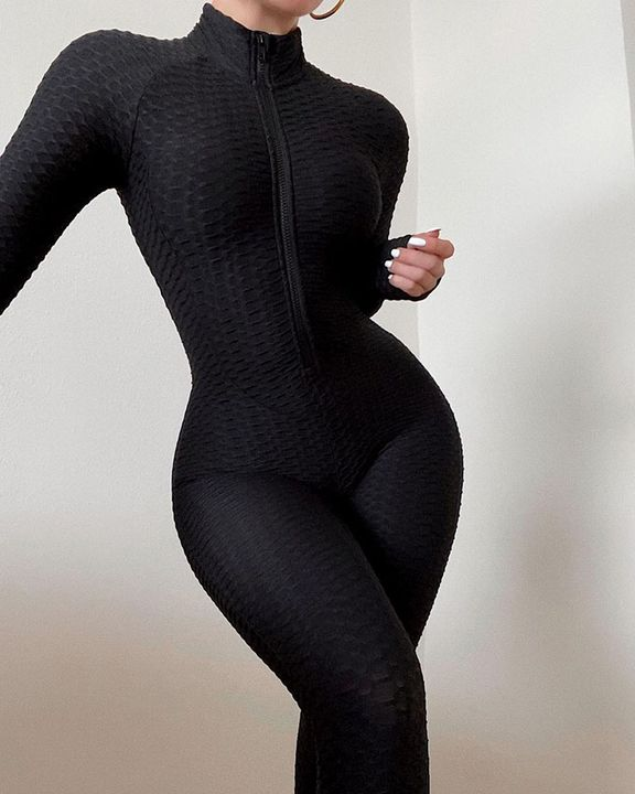 Solid Textured Ruched Zip Up Long Sleeve Sports Jumpsuit gallery 1