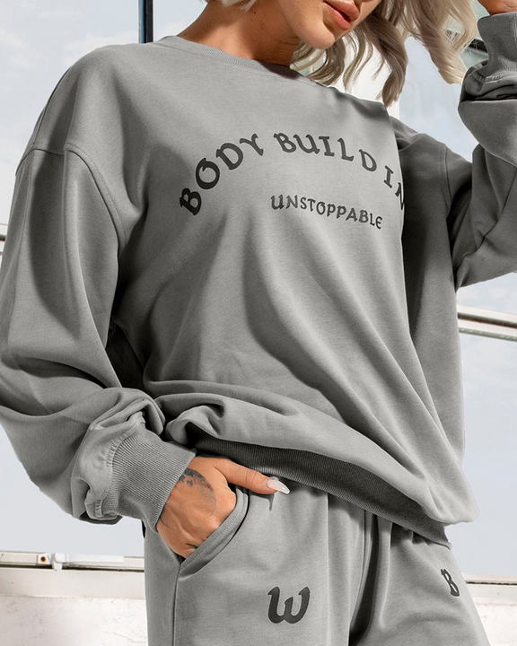 Letter Print Round Neck Long Sleeve Sports Tee gallery 1