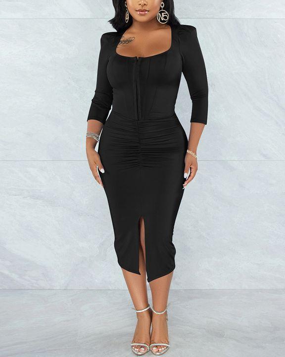 Solid Ruched Zip Front Split Hem Bodycon Midi Dress gallery 2