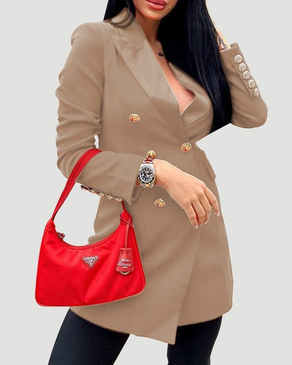 Solid Double Breasted Lapel Neck Coat gallery 3