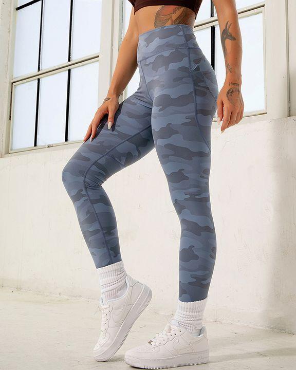Camo Print Pocket Back Butt Lifting Sports Leggings gallery 12