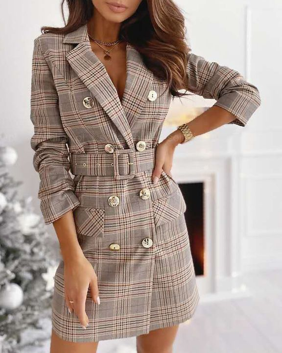 Plaid Print Buckle Belt Flap Pocket Double Breasted Coat gallery 1