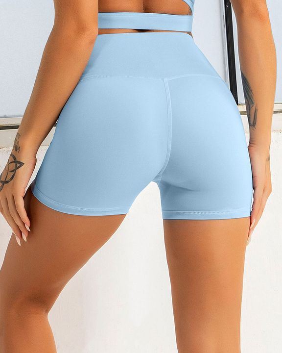 Solid Wide Waistband Sports Shorts gallery 5
