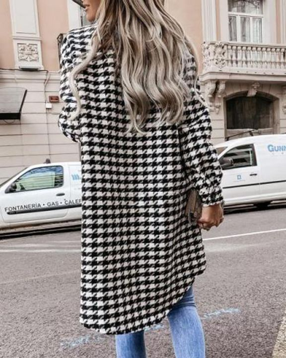 Houndstooth Pattern Button Up Curved Hem Coat gallery 8