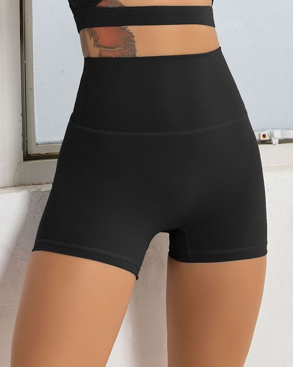 Solid Wide Waistband Sports Shorts gallery 2