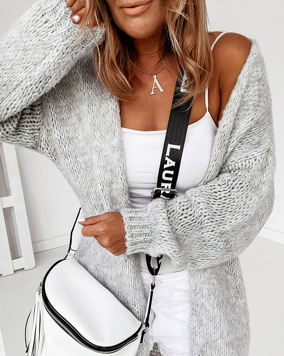 Solid Chunky Knit Drop Shoulder Open Front Cardigan gallery 3