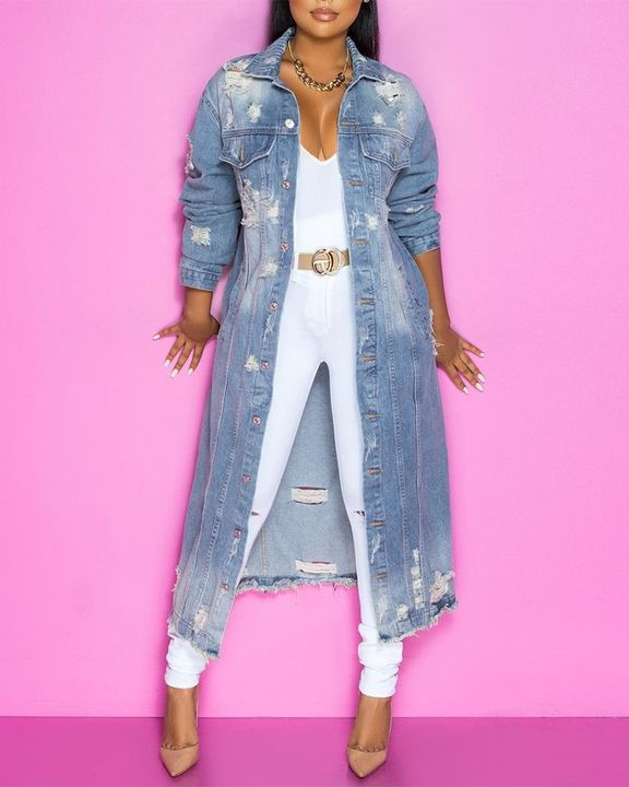 Ripped Button Up Flap Pocket Longline Denim Coat gallery 6