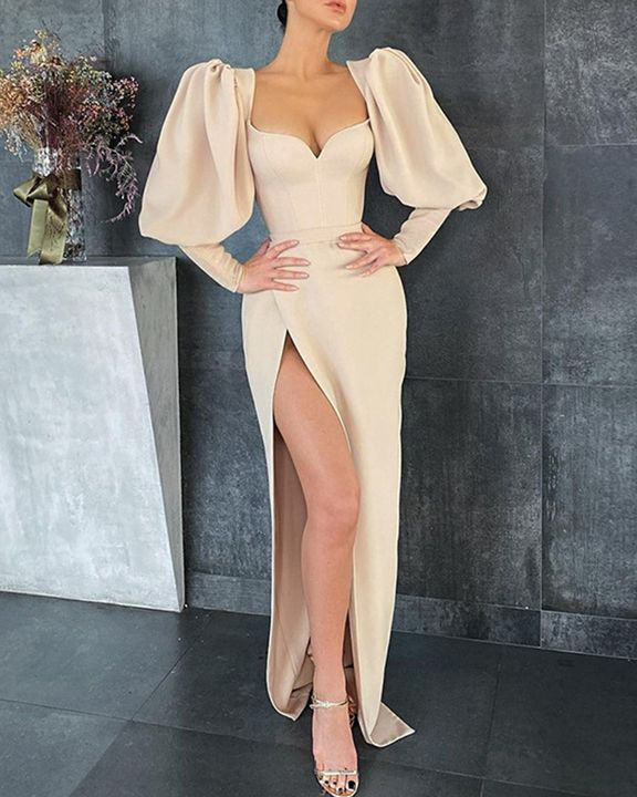 Solid Split Thigh Puff Sleeve Sweetheart Maxi Dress gallery 3
