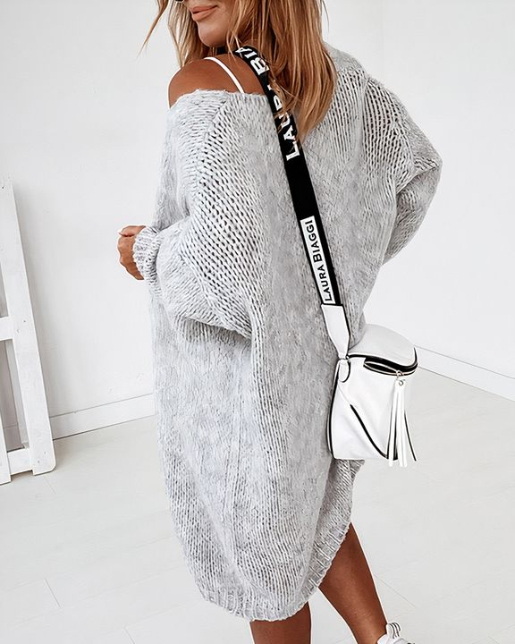 Solid Chunky Knit Drop Shoulder Open Front Cardigan gallery 13