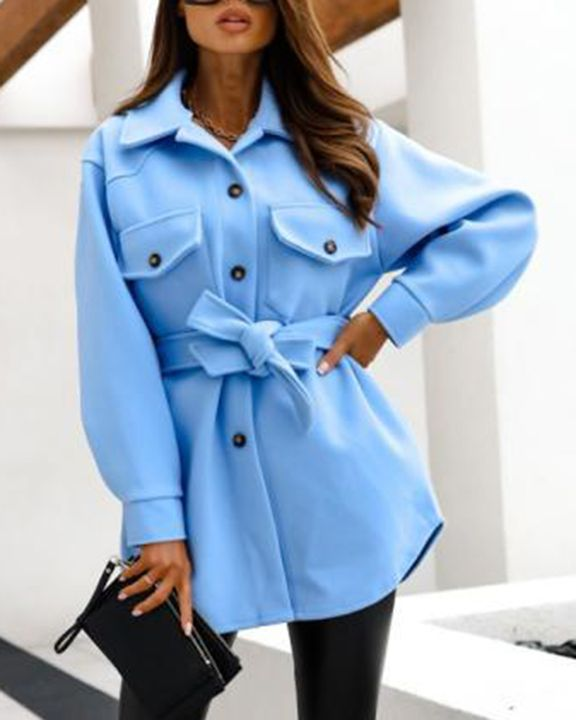 Solid Button Up Belted Flat Pocket Coat gallery 10