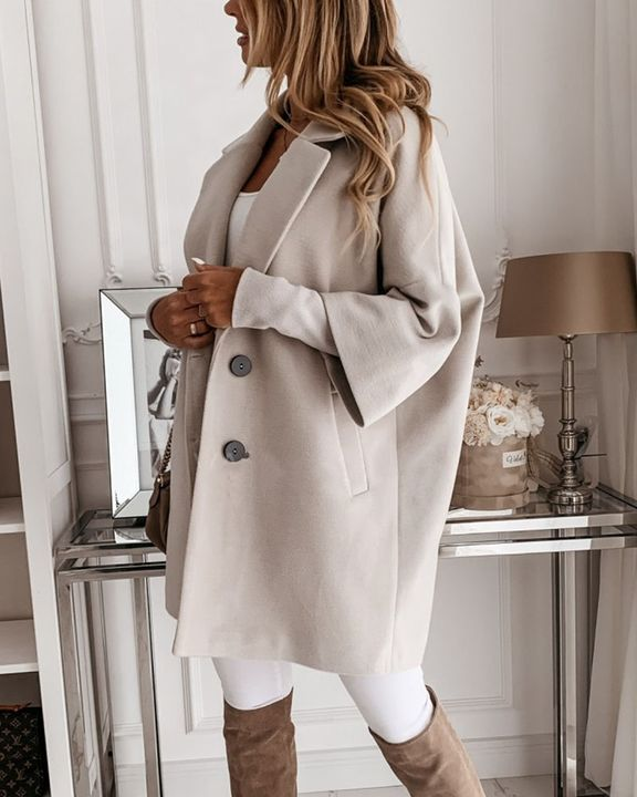 Double Breasted Pocket Detail Lapel Neck Coat gallery 5