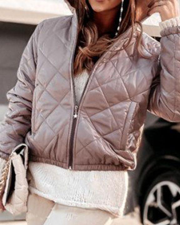 Argyle Quilted Zip Up Elastic Hem Hooded Jacket gallery 8