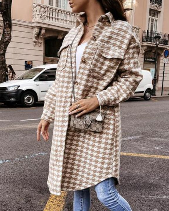 Houndstooth Pattern Button Up Curved Hem Coat gallery 6
