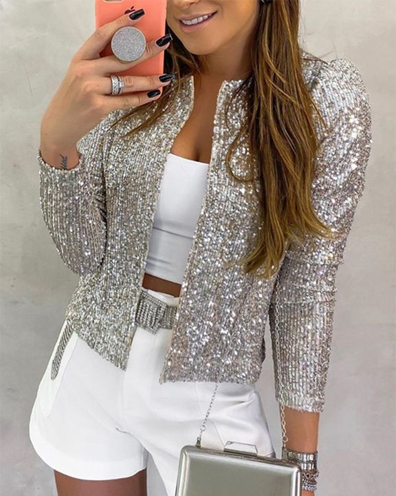 Solid Sequin Decor Open Front Jacket gallery 3