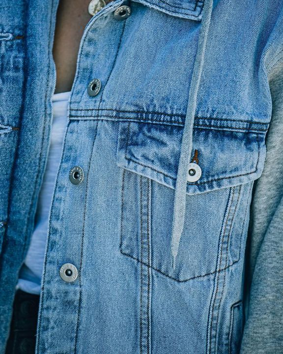 Raw Edge Drawstring Flap Pocket 2 In 1 Hooded Denim Jacket gallery 12