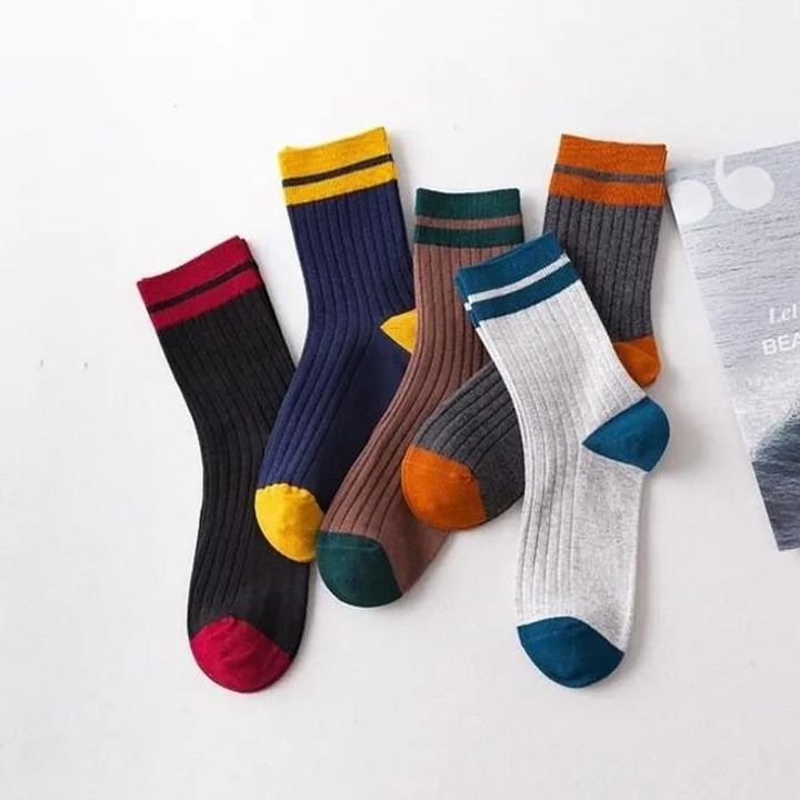 1 Pair Graphic Embroidery Ribbed Random Color Crew Socks gallery 8