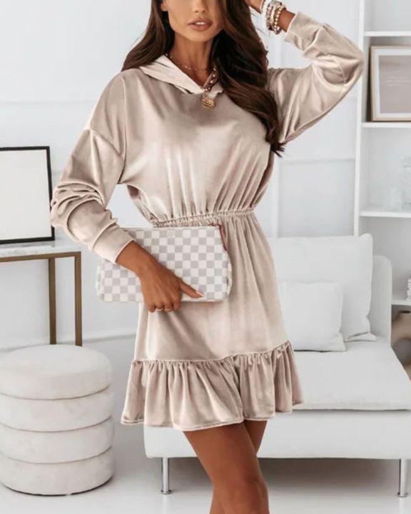Velvet Solid Ruffle Hem Elastic Hooded Mini Dress gallery 11
