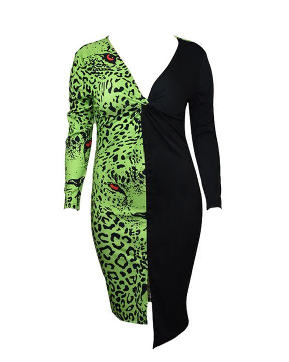 Leopard Print Twist Front Asymmetrical Split Hem Midi Dress gallery 4