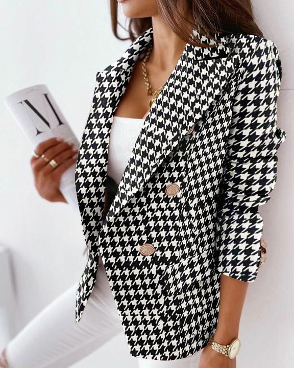 Houndstooth Double Breasted Lapel Neck Blazer gallery 1