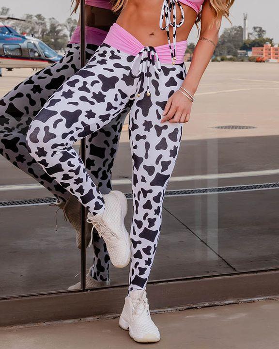 Colorblock Cow Print Drawstring High Waist Sports Leggings gallery 5