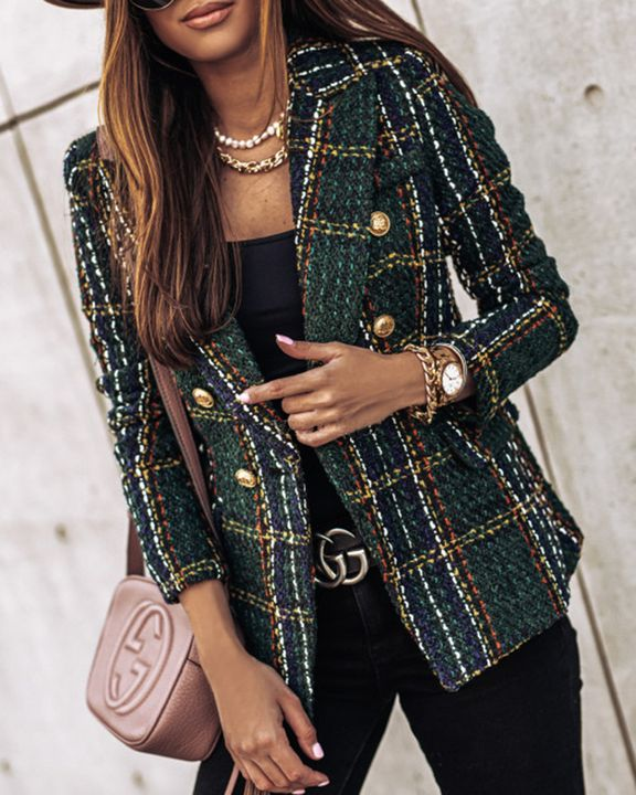 Plaid Print Double Breasted Lapel Neck Blazer gallery 4