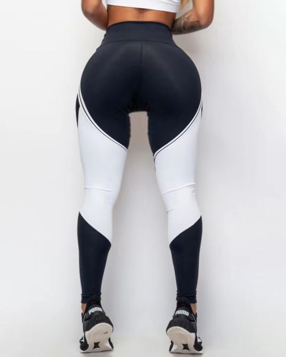 Two Tone Mesh Insert Wide Waistband Sports Leggings gallery 4