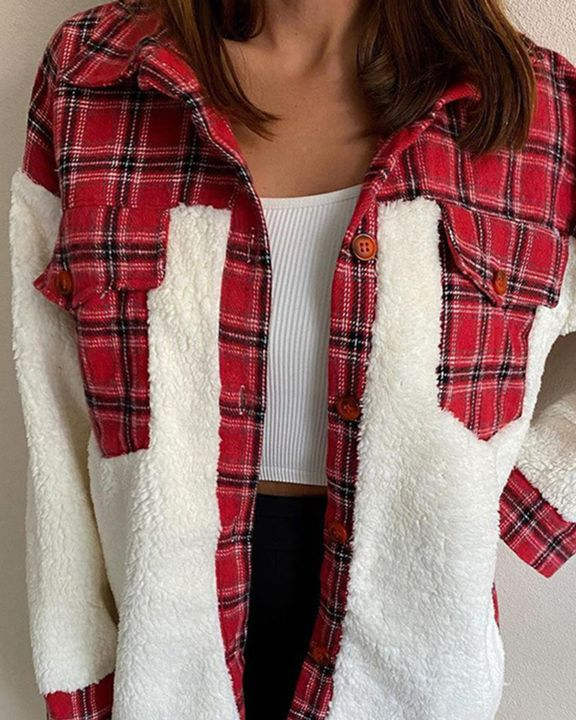 Plaid Print Button Front Flap Pocket Teddy Coat gallery 1