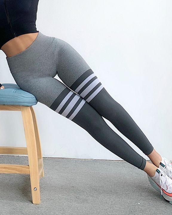 Seamless Stripe Colorblock Sports Leggings gallery 21
