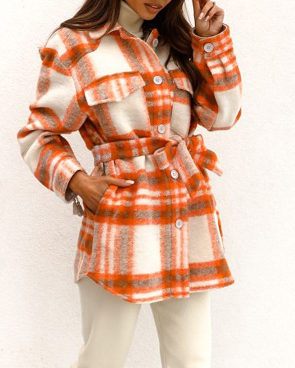 Plaid Button Up Self Belted Flap Pocket Coat gallery 3