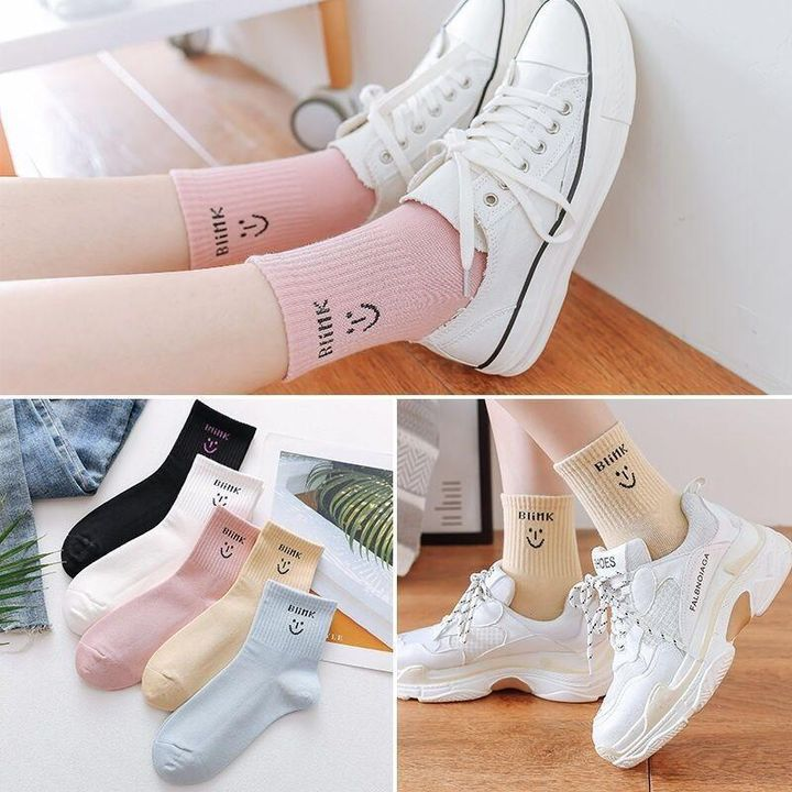 1 Pair Graphic Embroidery Ribbed Random Color Crew Socks gallery 3