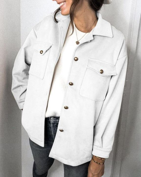 Solid Button Front Flat Pocket Jacket gallery 1