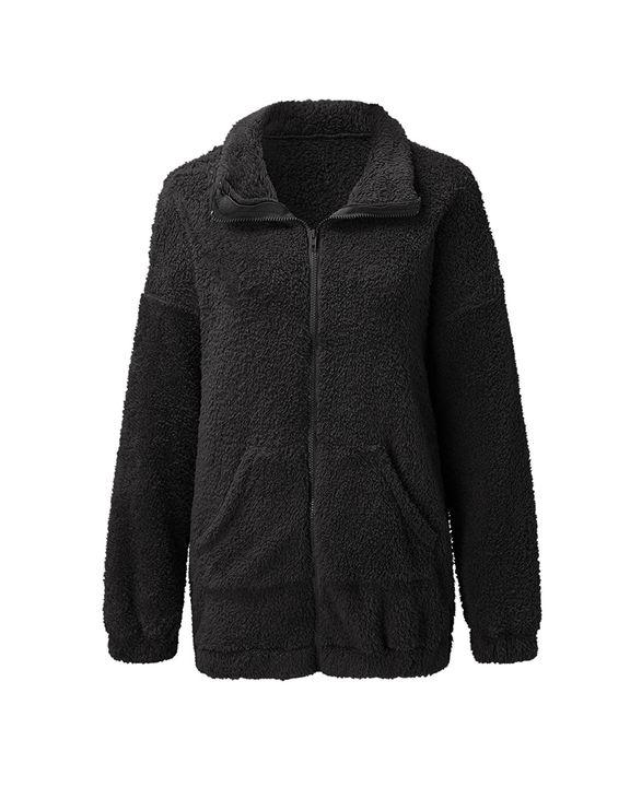Solid Zip Up Pocket Detail Teddy Coat gallery 7
