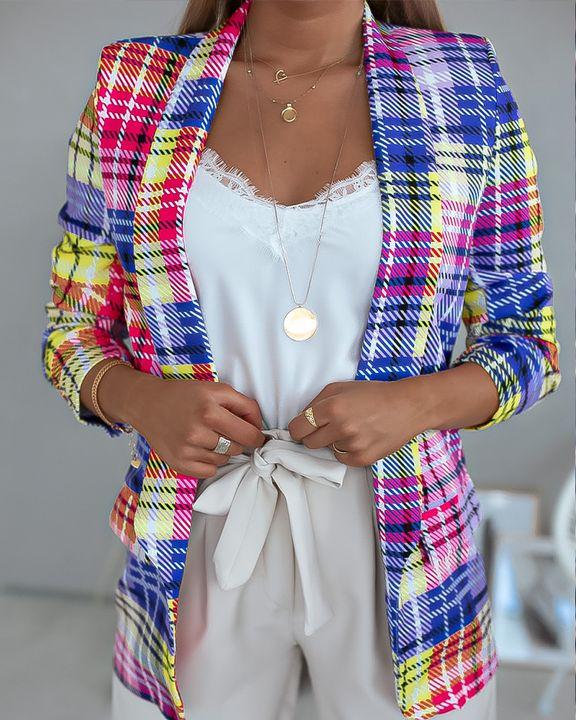 Plaid Dual Pocket Shawl Collar Blazer gallery 2