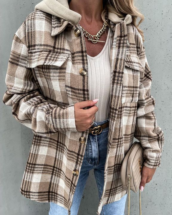 Plaid Print Button Up Pocket Detail Hooded Coat gallery 1