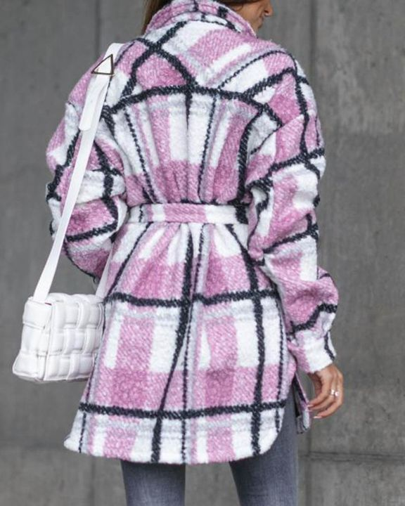 Plaid Print Button Through Pocket Detail Belted Coat gallery 4