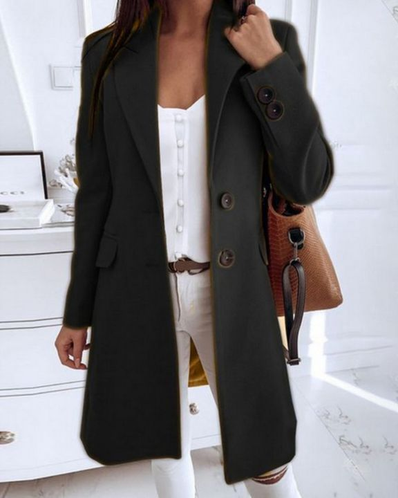 Double Breasted Pocket Detail Lapel Neck Knee Length Coat gallery 2
