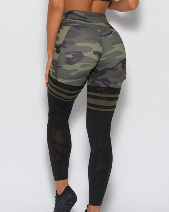 Camo Colorblock Wide Waistband Sports Leggings gallery 5