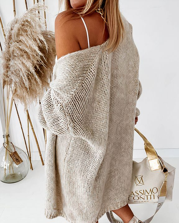 Solid Chunky Knit Drop Shoulder Open Front Cardigan gallery 7