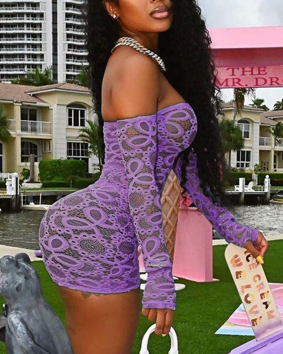 Solid Eyelet Embroidery Sheer Thumb Hole Off Shoulder Mini Dress With Panty gallery 4