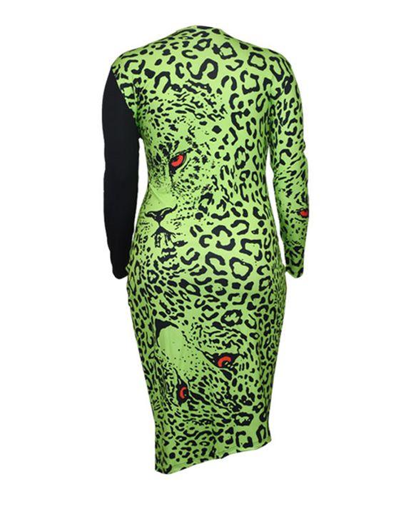 Leopard Print Twist Front Asymmetrical Split Hem Midi Dress gallery 5
