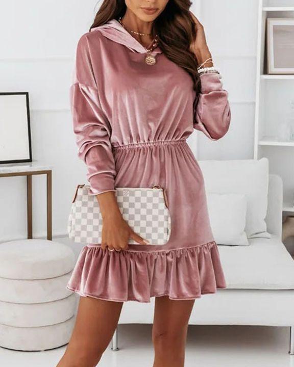 Velvet Solid Ruffle Hem Elastic Hooded Mini Dress gallery 6