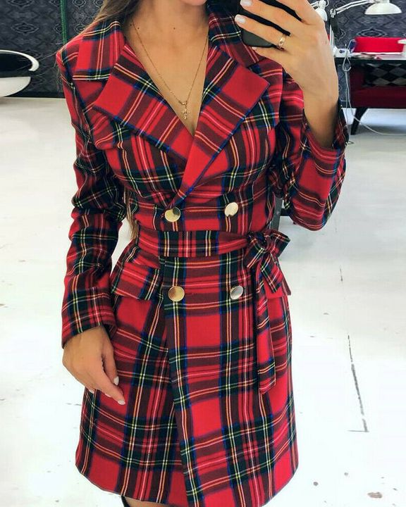 Tartan Print Double Breasted Belted Coat gallery 1