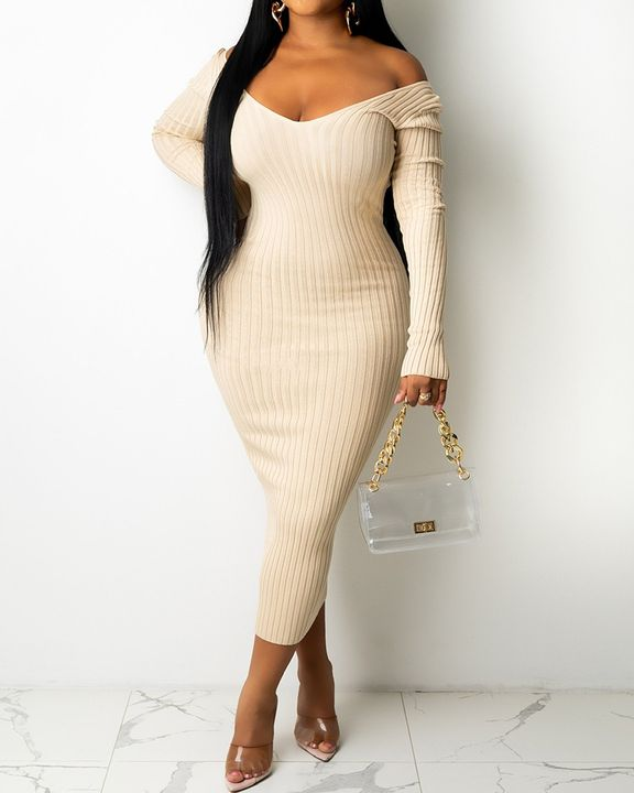 Solid Rib-Knit V Neck Form Fitted Midi Dress gallery 1