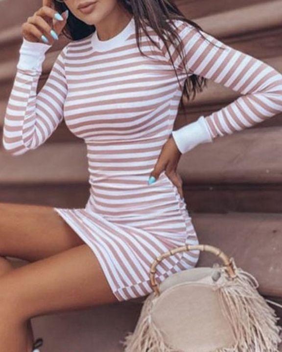 Striped Round Neck Long Sleeve Bodycon Mini Dress gallery 4