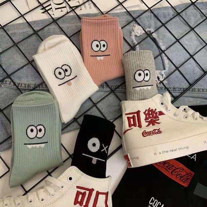 1 Pair Graphic Embroidery Ribbed Random Color Crew Socks gallery 4
