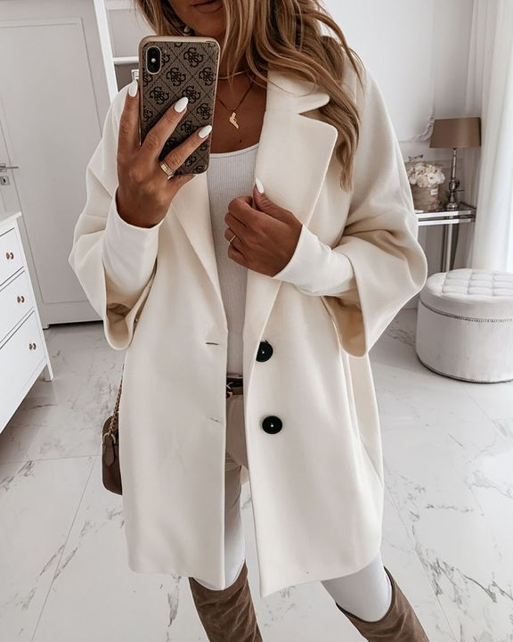 Double Breasted Pocket Detail Lapel Neck Coat gallery 7