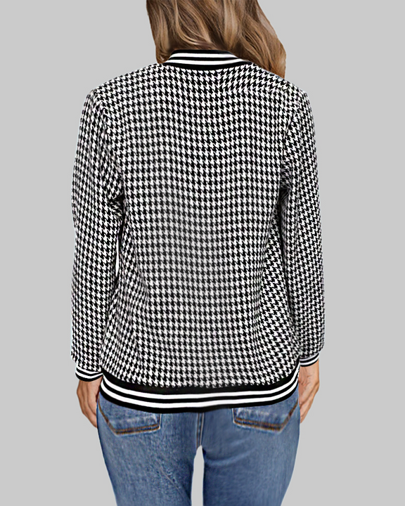 Striped Cuff Button Up Houndstooth Tweed Jacket gallery 3
